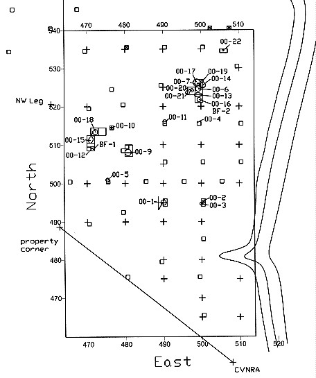 Figure 1. Plan of 2000 excavations and feature distribution