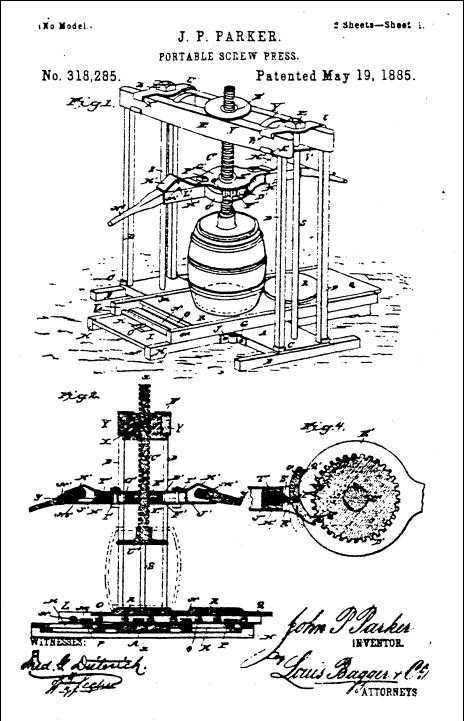 Figure 2. Patent drawing for Parker's Portable Screw Press, 1885.