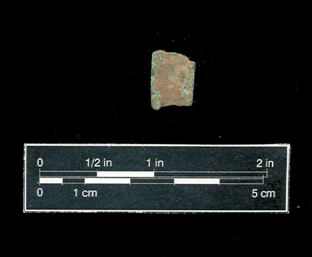 Figure 5:  European copper clip recovered from Feature 04-25.